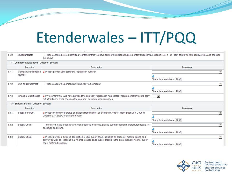 Etenderwales – ITT/PQQ