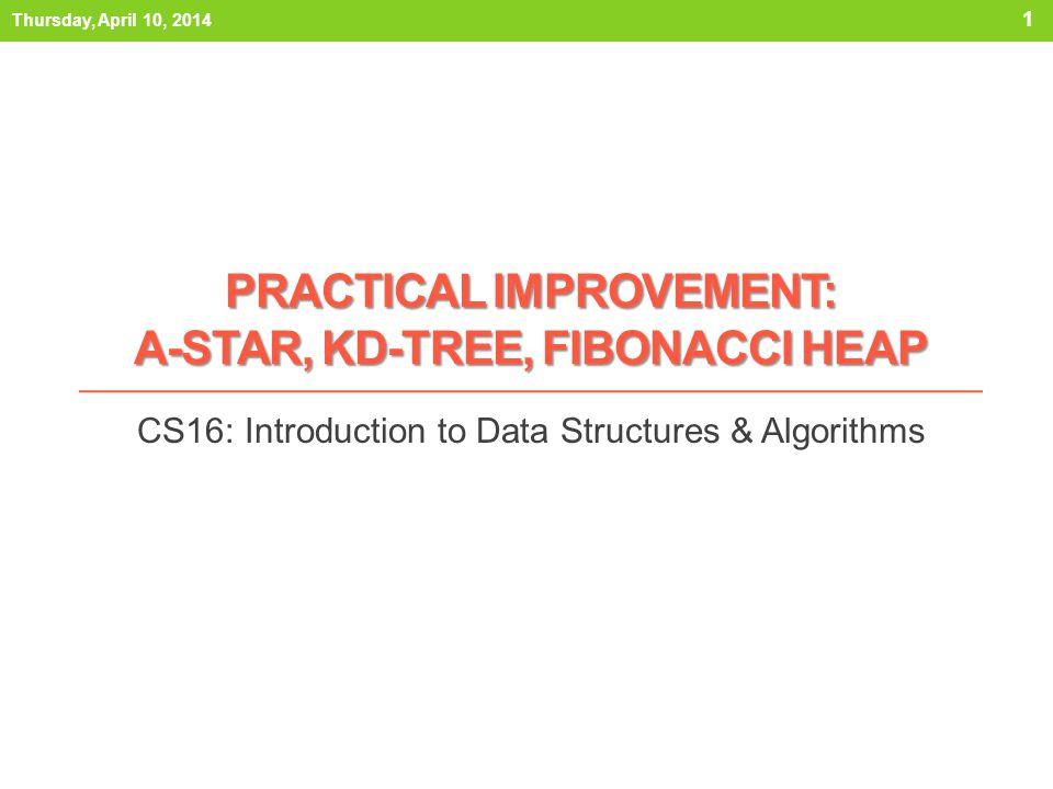 PRACTICAL IMPROVEMENT: A-STAR, KD-TREE, FIBONACCI HEAP CS16: Introduction to Data Structures & Algorithms Thursday, April 10, 2014 1