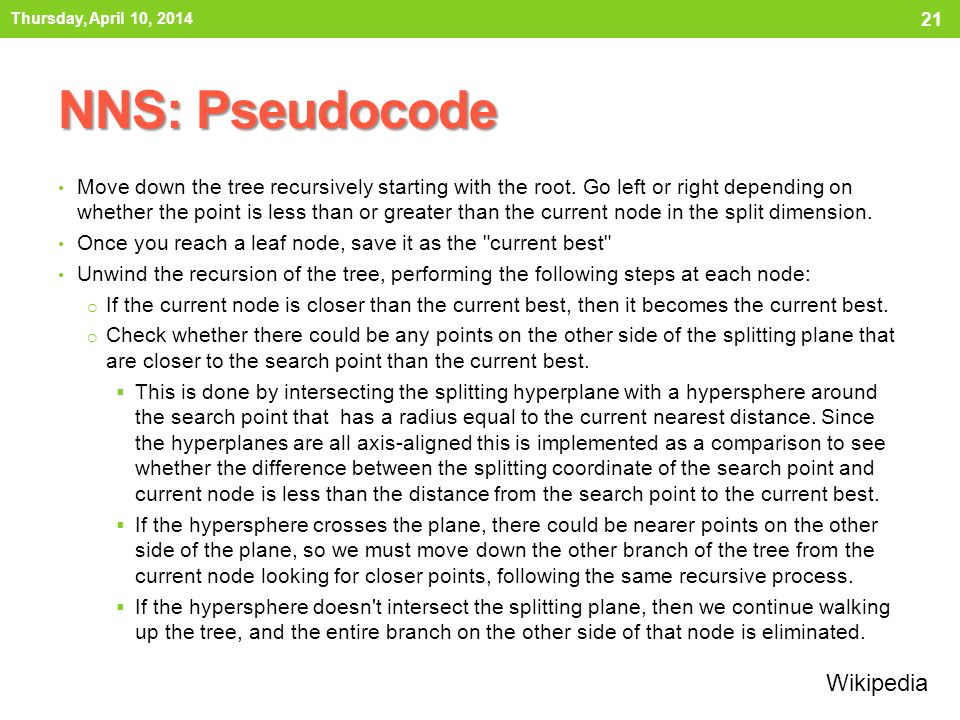 NNS: Pseudocode Move down the tree recursively starting with the root.