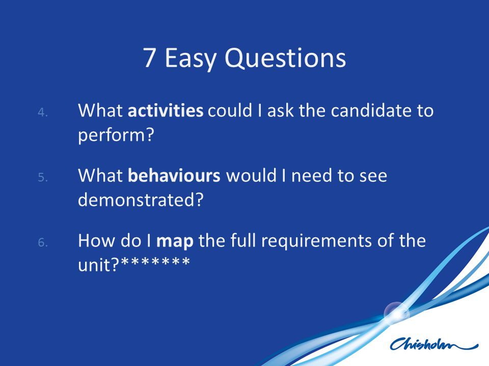 4. What activities could I ask the candidate to perform? 5. What behaviours would I need to see demonstrated? 6. How do I map the full requirements of