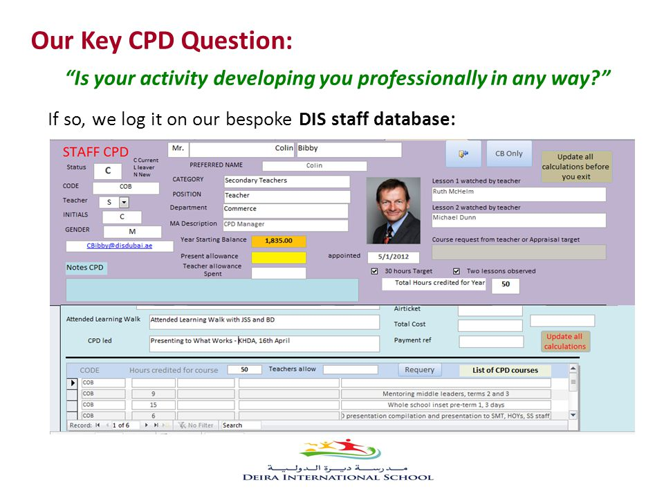 Our Key CPD Question: Is your activity developing you professionally in any way? If so, we log it on our bespoke DIS staff database:
