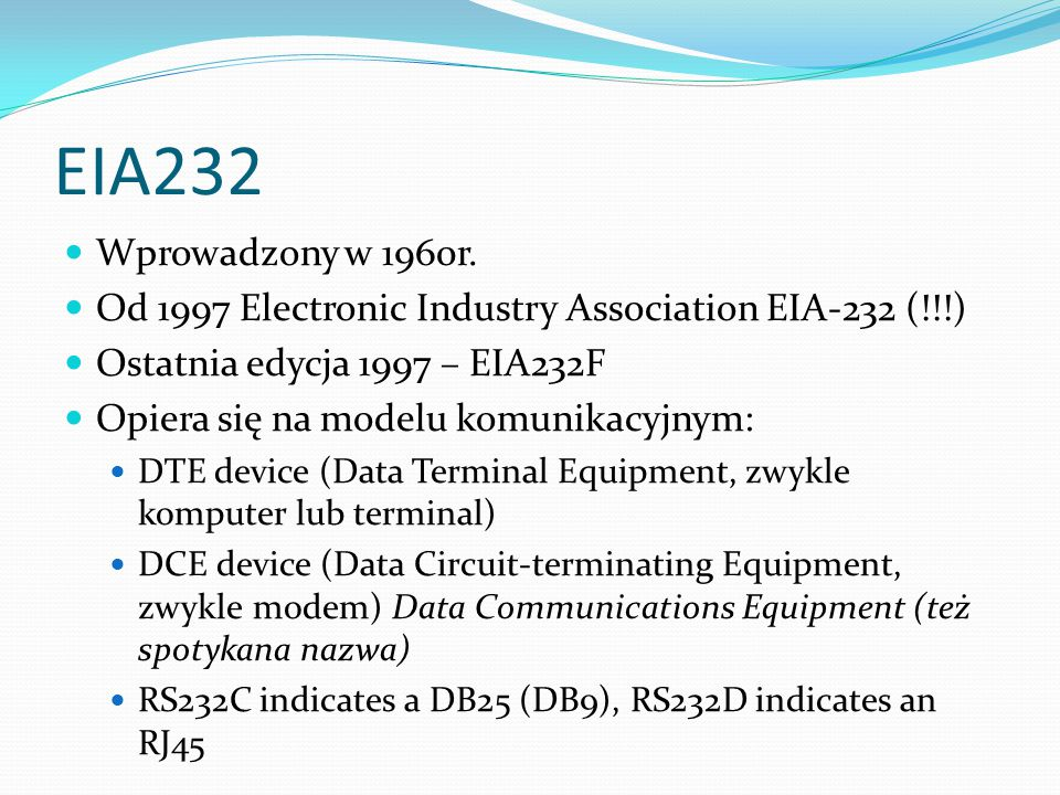 Definicja sygnałów – drugi kanał komunikacyjny IV Pin 14 - Secondary Transmitted Data (STxD) Pin 16 - Secondary Received Data (SRxD) Pin 19 - Secondary Request to Send (SRTS) Pin 13 - Secondary Clear to Send (SCTS) These signals are equivalent to the corresponding signals in the primary communications channel.