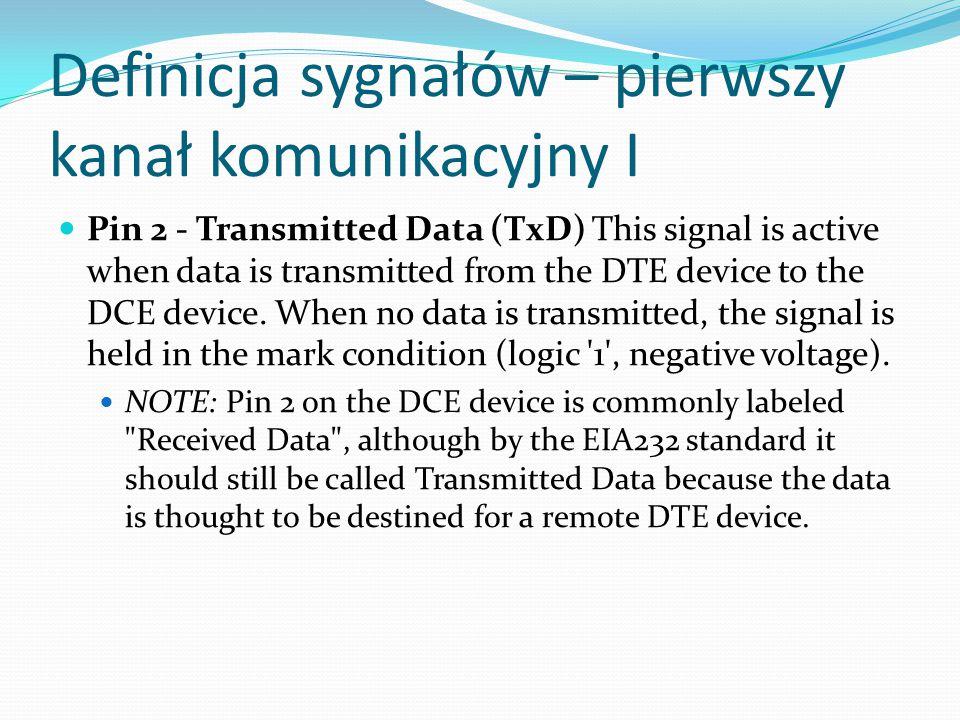 Definicja sygnałów – pierwszy kanał komunikacyjny II Pin 3 - Received Data (RxD) This signal is active when the DTE device receives data from the DCE device.