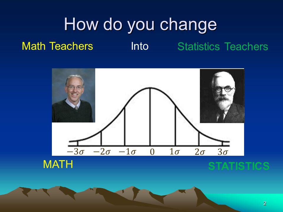 How do you change 2 MATH STATISTICS Math Teachers Into Statistics Teachers