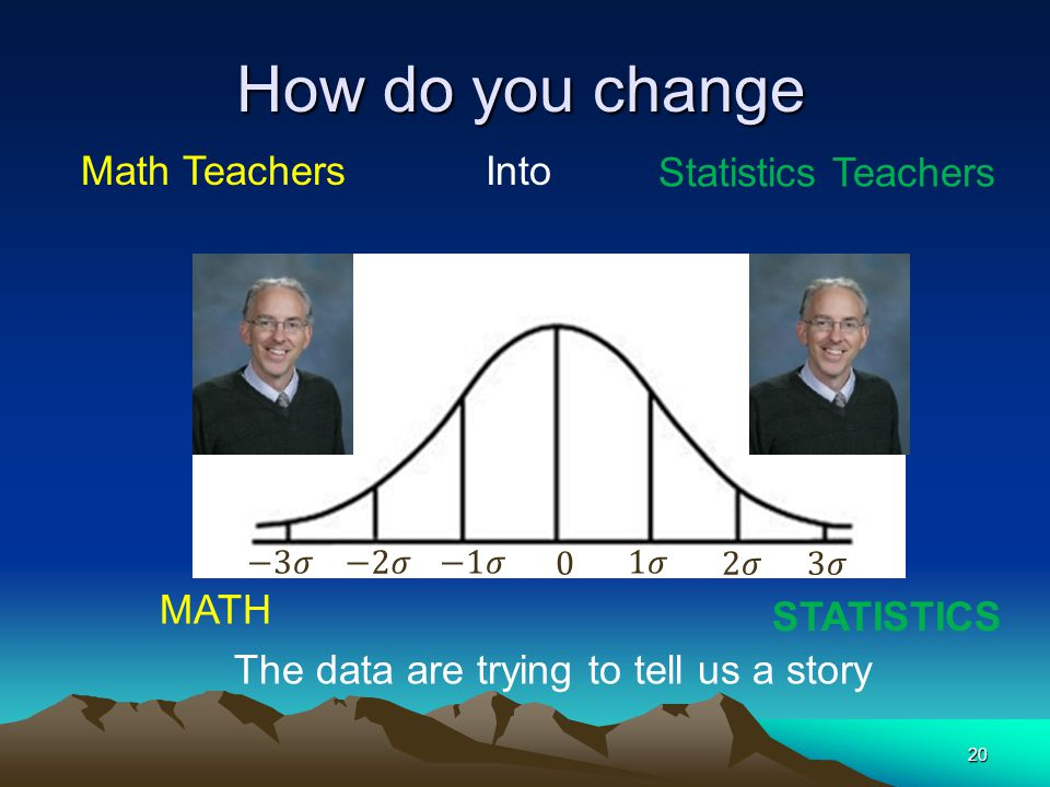 How do you change 20 MATH STATISTICS Math Teachers Into Statistics Teachers The data are trying to tell us a story