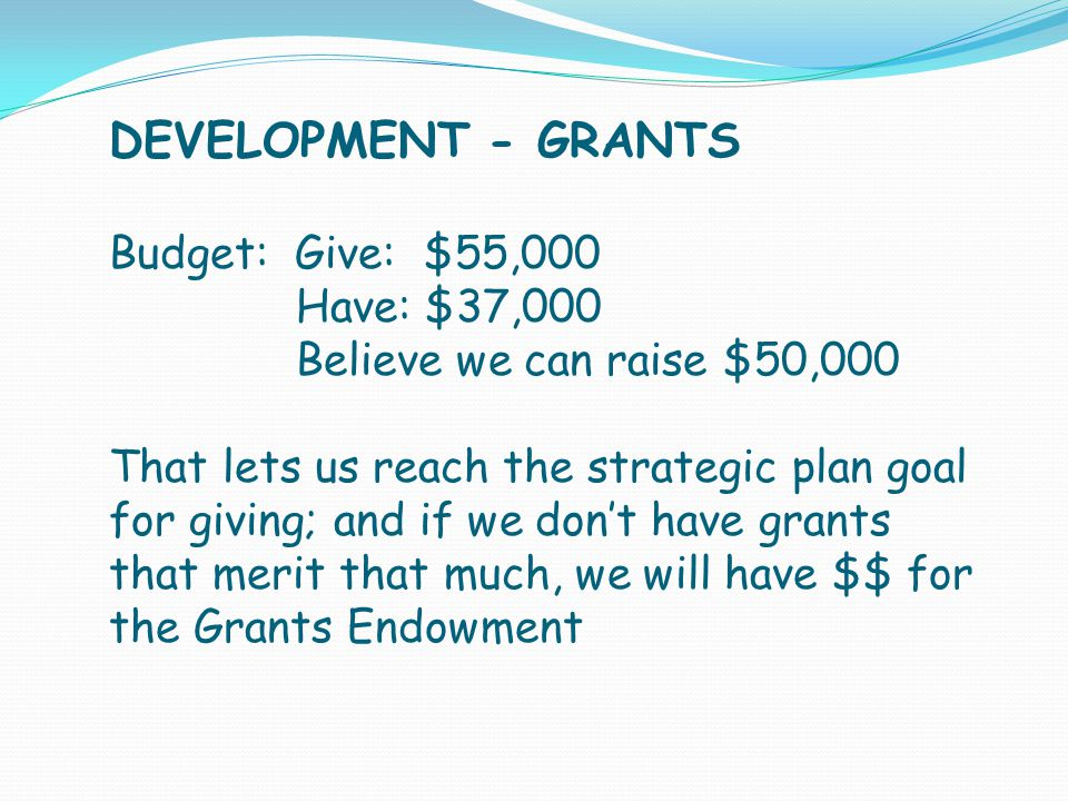 DEVELOPMENT - GRANTS Budget: Give: $55,000 Have: $37,000 Believe we can raise $50,000 That lets us reach the strategic plan goal for giving; and if we don't have grants that merit that much, we will have $$ for the Grants Endowment