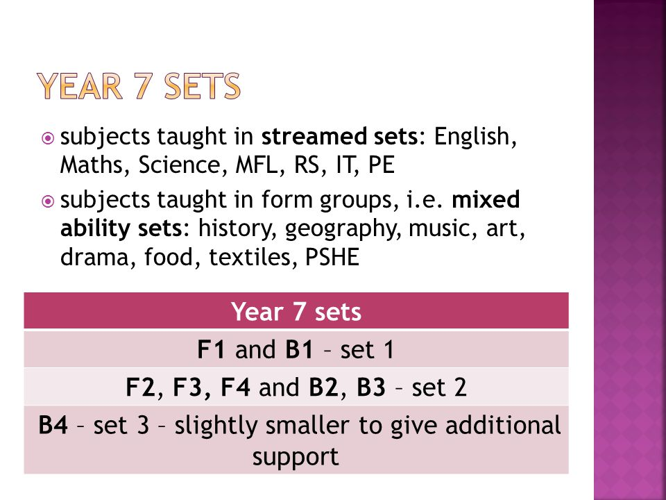  subjects taught in streamed sets: English, Maths, Science, MFL, RS, IT, PE  subjects taught in form groups, i.e.