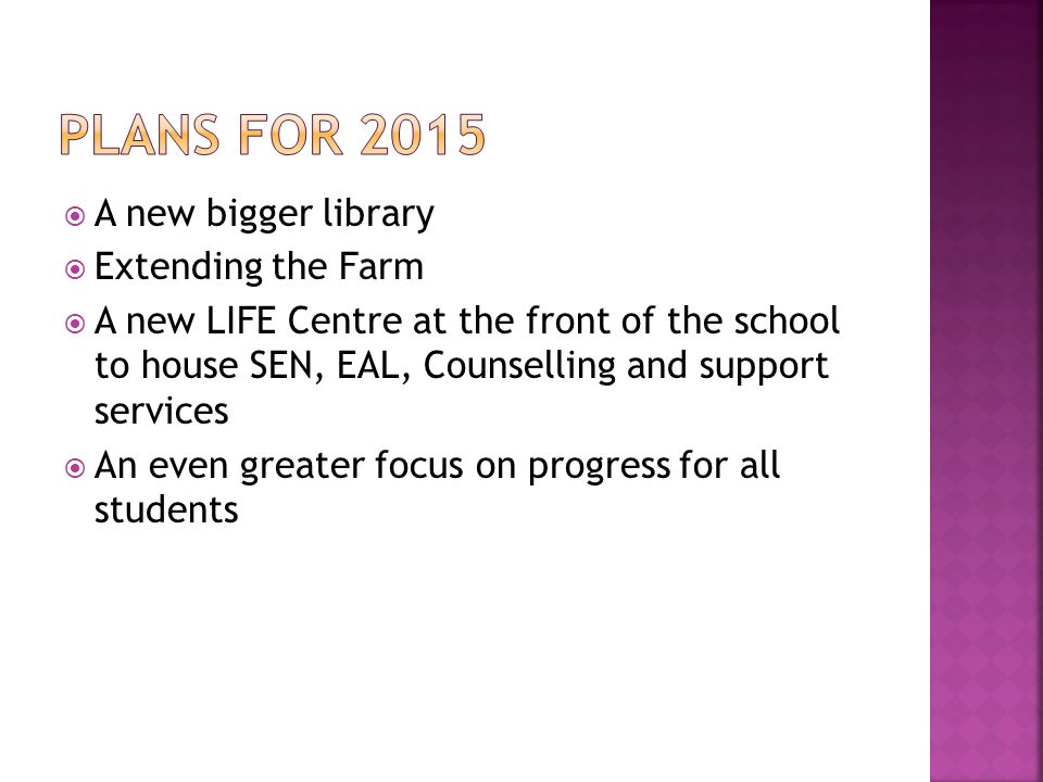  A new bigger library  Extending the Farm  A new LIFE Centre at the front of the school to house SEN, EAL, Counselling and support services  An even greater focus on progress for all students