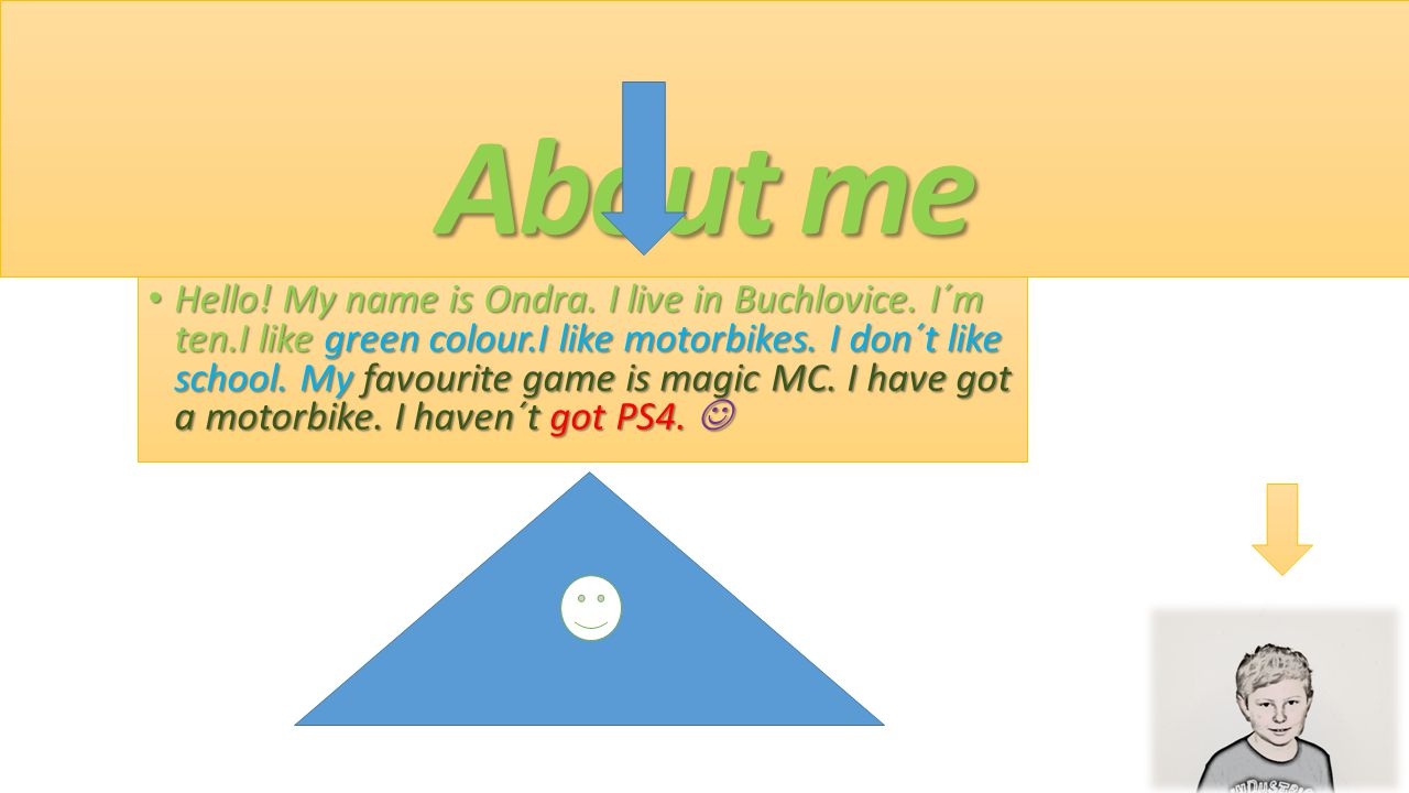 About me Hello! My name is Ondra. I live in Buchlovice. I´m ten.I like green colour.I like motorbikes. I don´t like school. My favourite game is magic