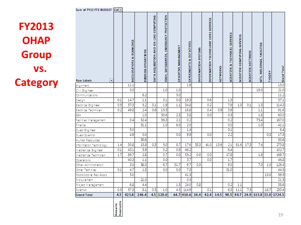 19 FY2013 OHAP Group vs. Category