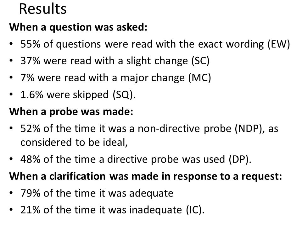 Results When a question was asked: 55% of questions were read with the exact wording (EW) 37% were read with a slight change (SC) 7% were read with a major change (MC) 1.6% were skipped (SQ).