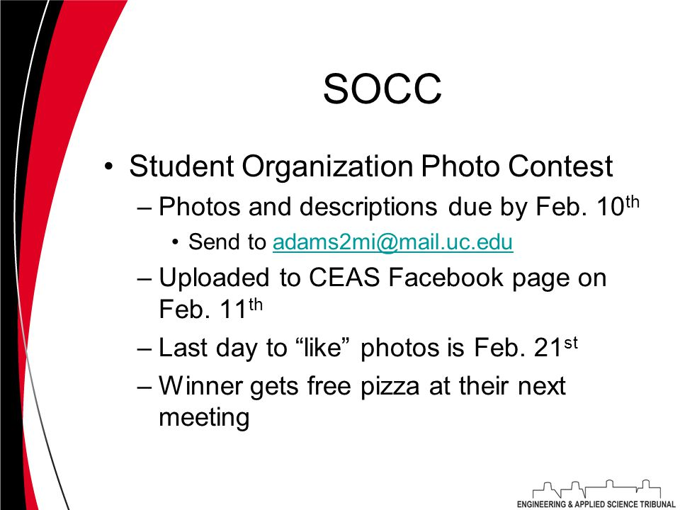 SOCC Student Organization Photo Contest –Photos and descriptions due by Feb.