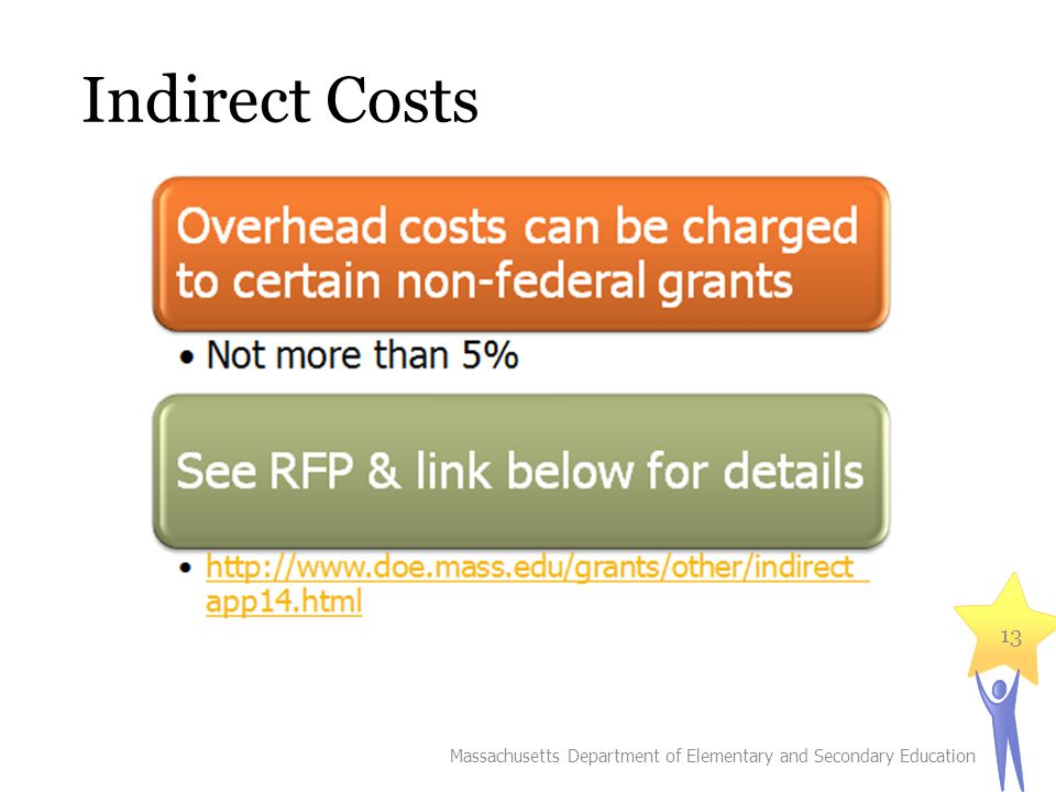 Indirect Costs Massachusetts Department of Elementary and Secondary Education 13