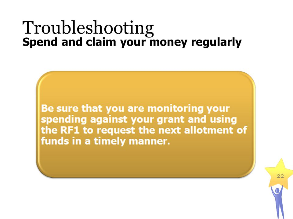 Troubleshooting 22 Spend and claim your money regularly