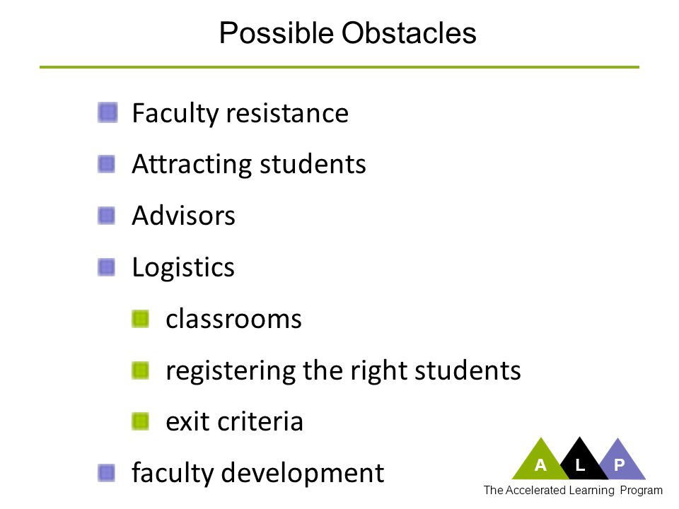 Attracting students Advisors Logistics classrooms registering the right students exit criteria faculty development Possible Obstacles ALP The Accelera