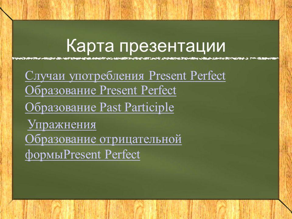 Карта презентации Случаи употребления Present Perfect Образование Present Perfect Образование Past Participle Упражнения Образование отрицательной формыPresent Perfect