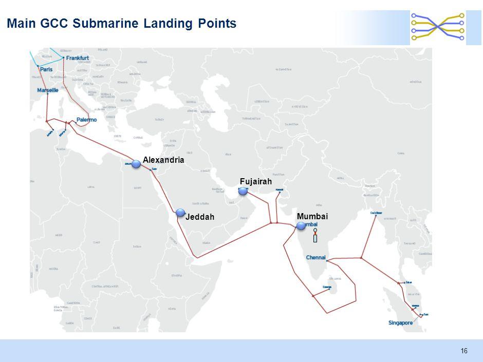 Main GCC Submarine Landing Points 16 Alexandria Jeddah Fujairah Mumbai