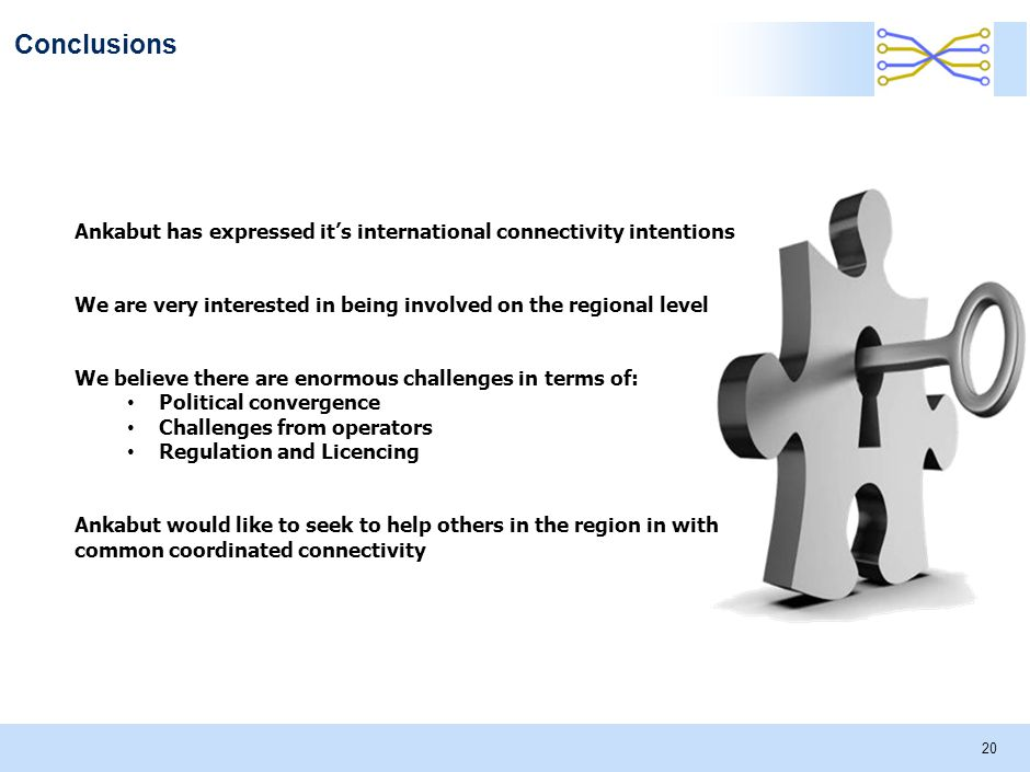 Conclusions 20 Ankabut has expressed it's international connectivity intentions We are very interested in being involved on the regional level We believe there are enormous challenges in terms of: Political convergence Challenges from operators Regulation and Licencing Ankabut would like to seek to help others in the region in with common coordinated connectivity