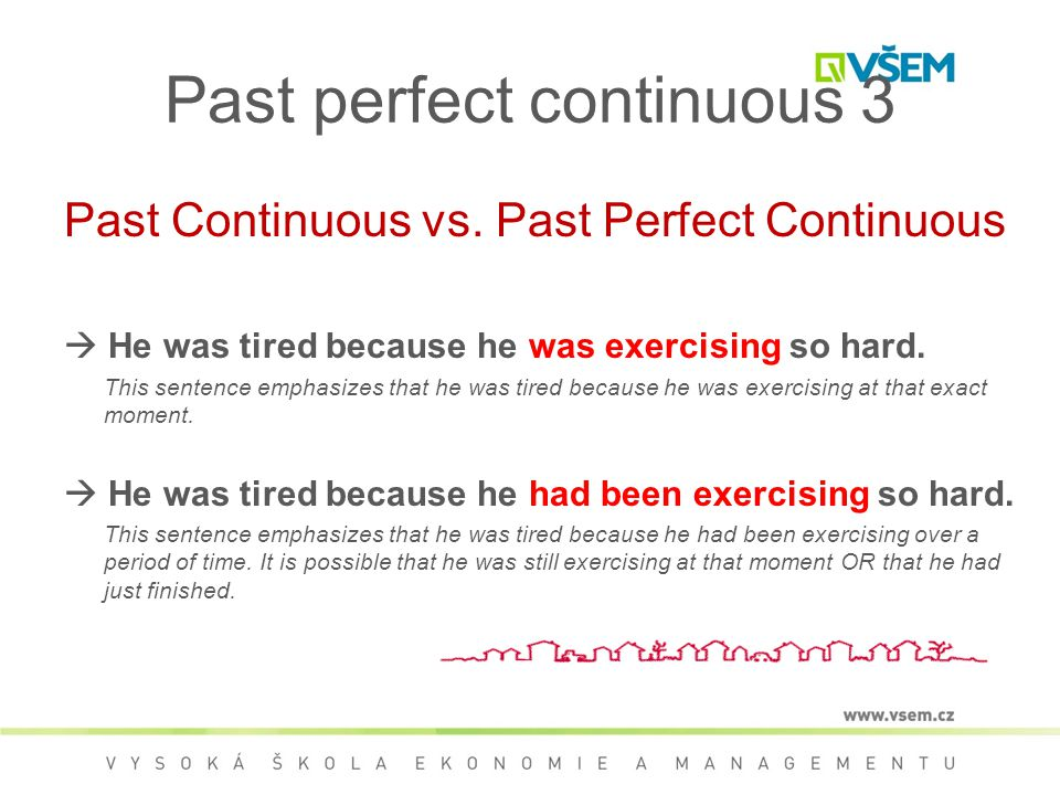 Past perfect continuous 3 Past Continuous vs.