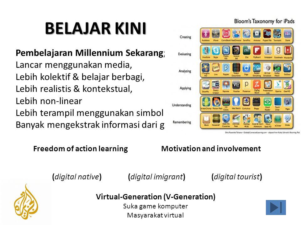 BELAJAR KINI (digital native)(digital imigrant)(digital tourist) Freedom of action learningMotivation and involvement Pembelajaran Millennium Sekarang