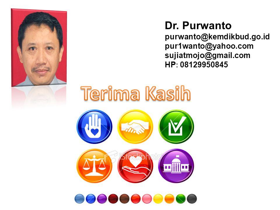 Dr. Purwanto purwanto@kemdikbud.go.id pur1wanto@yahoo.com sujiatmojo@gmail.com HP : 08129950845