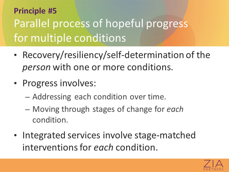 Principle #5 Parallel process of hopeful progress for multiple conditions Recovery/resiliency/self-determination of the person with one or more conditions.