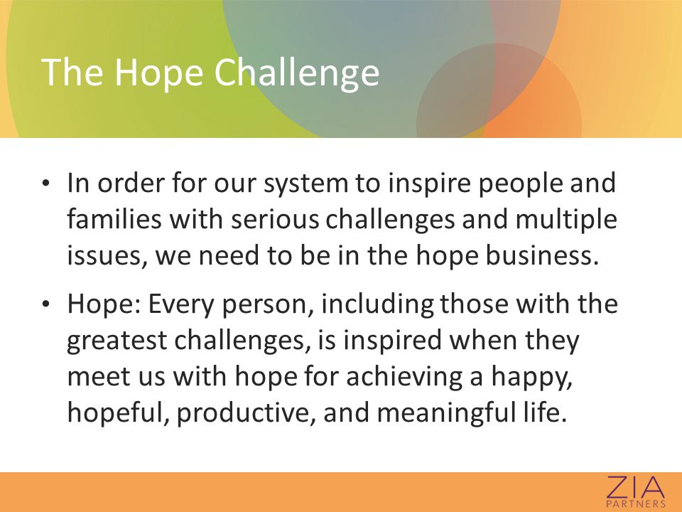 Is your system/organization designed to inspire hope for people with complex needs?