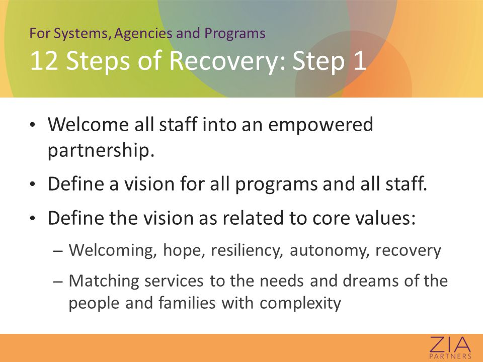 For Systems, Agencies and Programs 12 Steps of Recovery: Step 1 Welcome all staff into an empowered partnership.