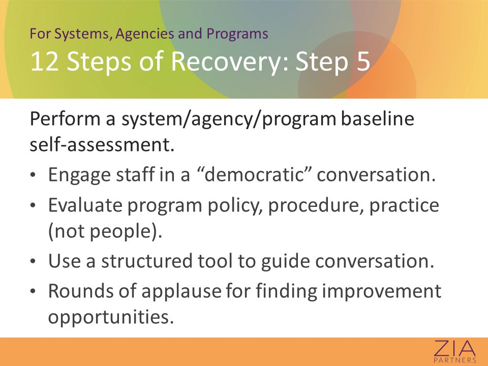 For Systems, Agencies and Programs 12 Steps of Recovery: Step 5 Perform a system/agency/program baseline self-assessment.