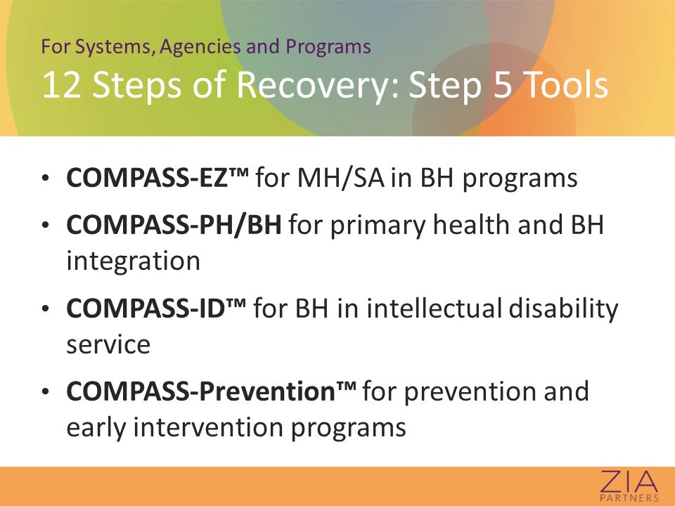 For Systems, Agencies and Programs 12 Steps of Recovery: Step 5 Tools COMPASS-EZ™ for MH/SA in BH programs COMPASS-PH/BH for primary health and BH integration COMPASS-ID™ for BH in intellectual disability service COMPASS-Prevention™ for prevention and early intervention programs