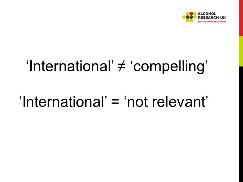 'International' ≠ 'compelling' 'International' = 'not relevant'
