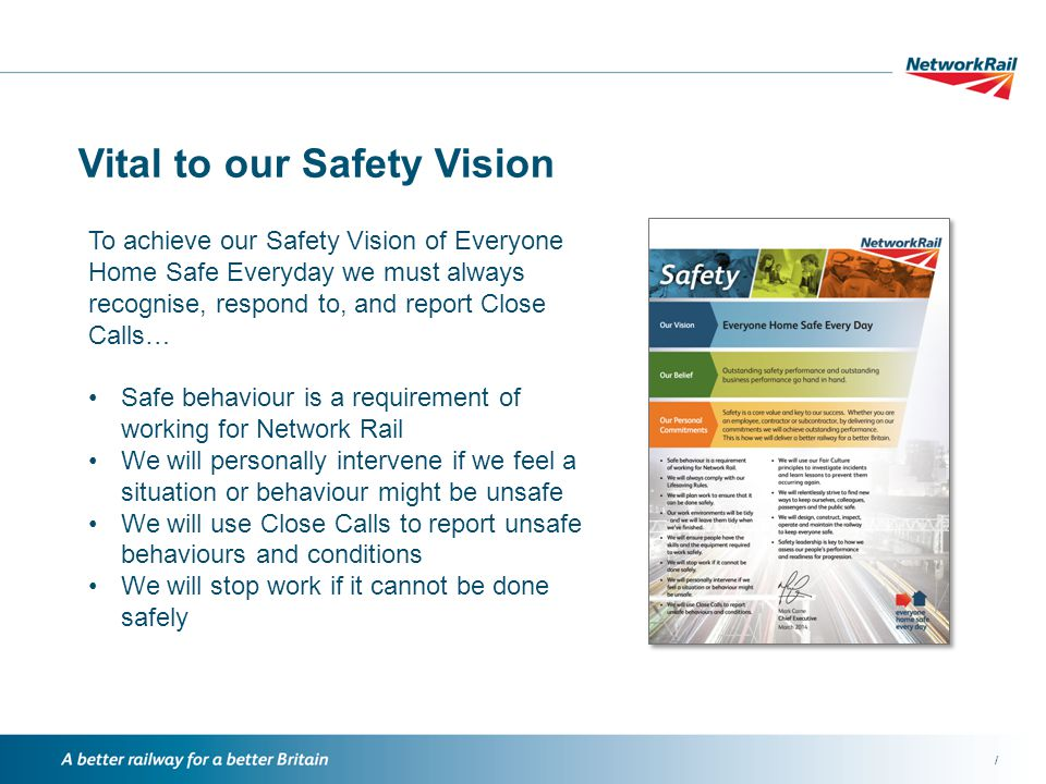 / Vital to our Safety Vision To achieve our Safety Vision of Everyone Home Safe Everyday we must always recognise, respond to, and report Close Calls… Safe behaviour is a requirement of working for Network Rail We will personally intervene if we feel a situation or behaviour might be unsafe We will use Close Calls to report unsafe behaviours and conditions We will stop work if it cannot be done safely