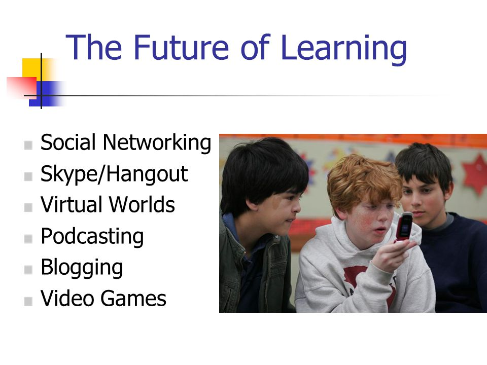 The Future of Learning Social Networking Skype/Hangout Virtual Worlds Podcasting Blogging Video Games
