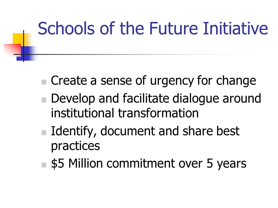Schools of the Future Initiative Create a sense of urgency for change Develop and facilitate dialogue around institutional transformation Identify, document and share best practices $5 Million commitment over 5 years