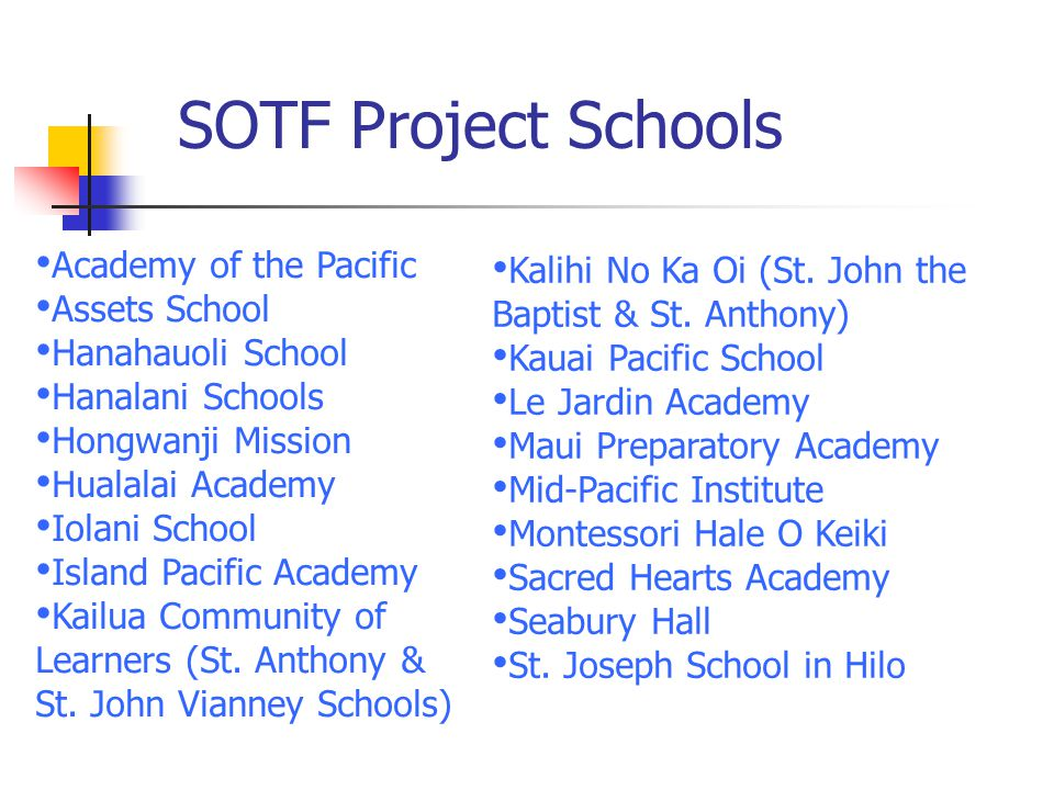 SOTF Project Schools Academy of the Pacific Assets School Hanahauoli School Hanalani Schools Hongwanji Mission Hualalai Academy Iolani School Island P