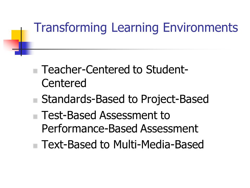 Transforming Learning Environments Teacher-Centered to Student- Centered Standards-Based to Project-Based Test-Based Assessment to Performance-Based Assessment Text-Based to Multi-Media-Based