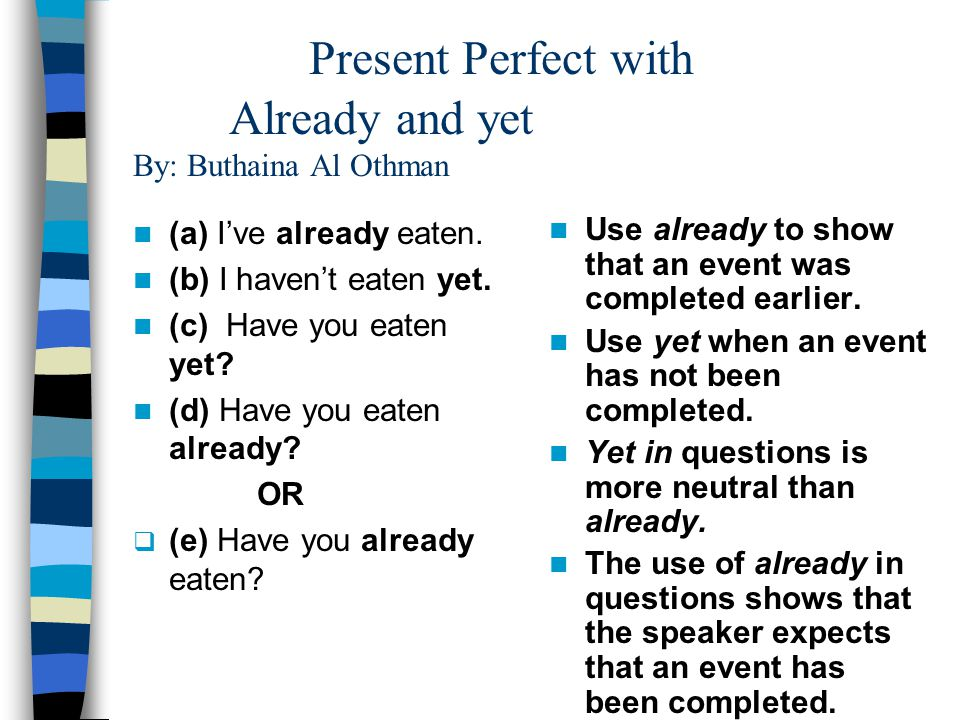 Present Perfect with Already and yet By: Buthaina Al Othman (a) I've already eaten.