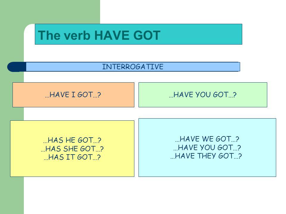 The verb HAVE GOT INTERROGATIVE …HAVE I GOT…?…HAVE YOU GOT….
