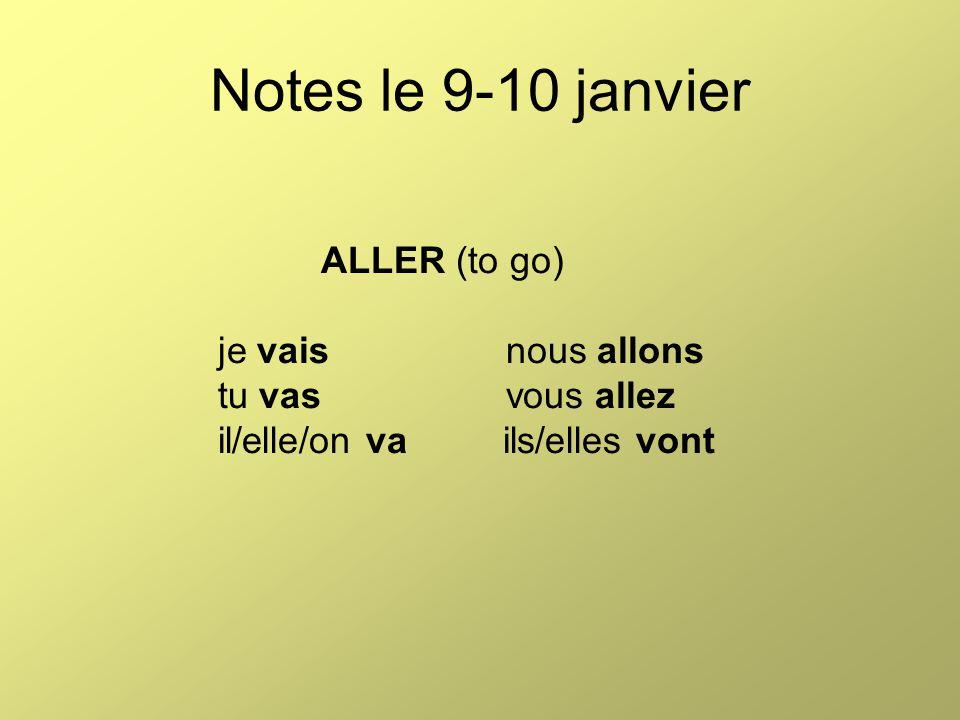 Notes le 9-10 janvier ALLER (to go) je vaisnous allons tu vasvous allez il/elle/on va ils/elles vont
