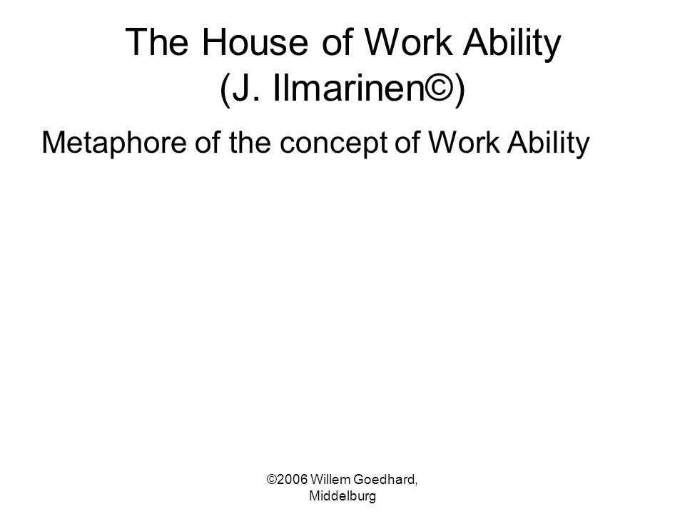 The House of Work Ability (J. Ilmarinen©) Metaphore of the concept of Work Ability