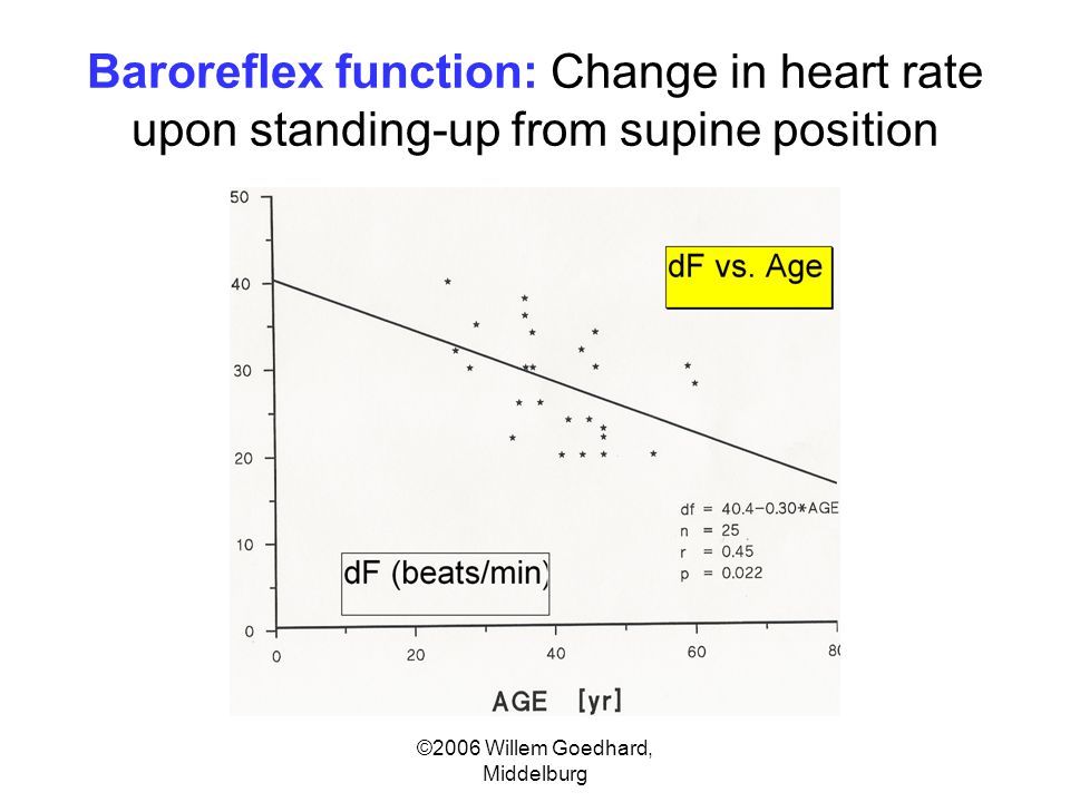 ©2006 Willem Goedhard, Middelburg Baroreflex function: Change in heart rate upon standing-up from supine position