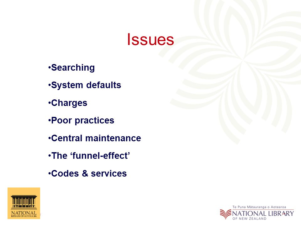 Issues Searching System defaults Charges Poor practices Central maintenance The 'funnel-effect' Codes & services