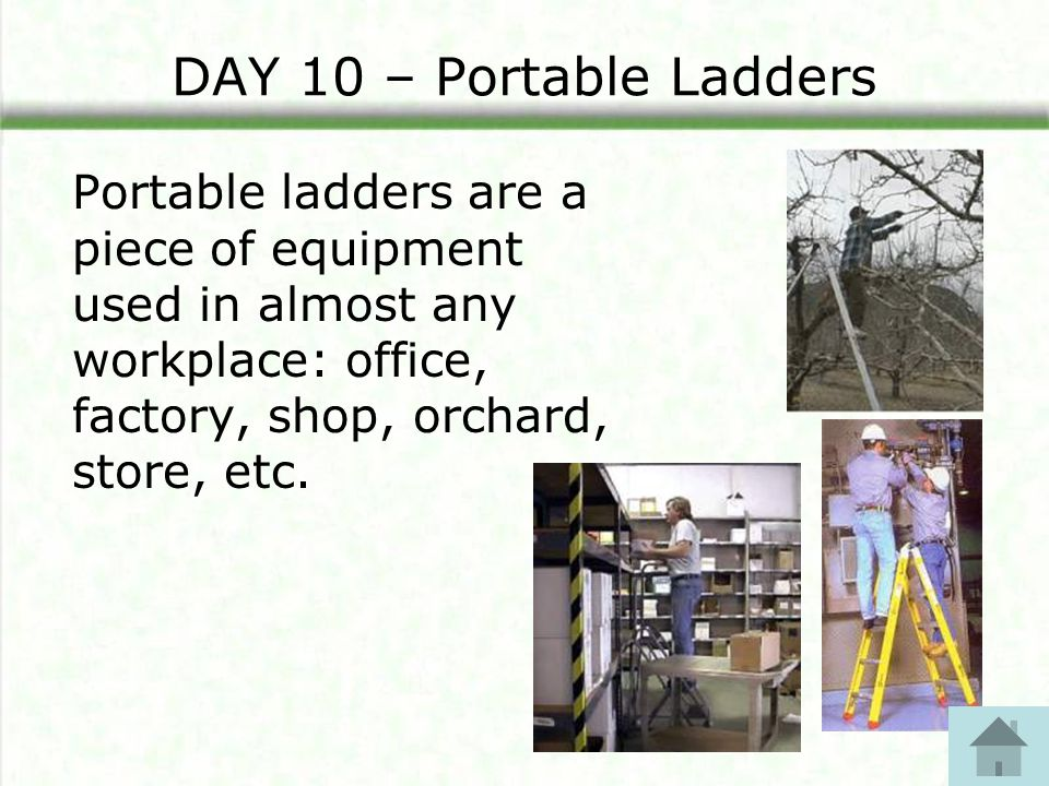 DAY 10 – Portable Ladders Portable ladders are a piece of equipment used in almost any workplace: office, factory, shop, orchard, store, etc.