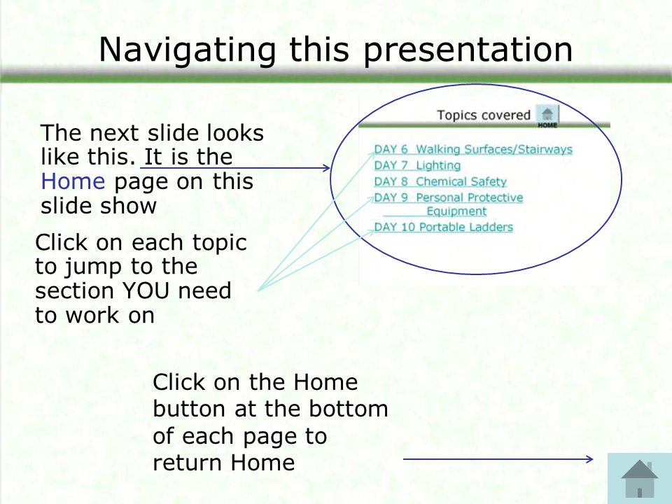 Navigating this presentation The next slide looks like this.