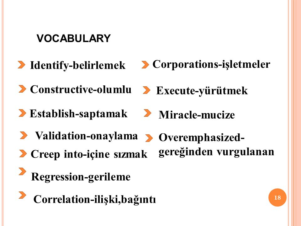 VOCABULARY 18 Identify-belirlemek Constructive-olumlu Establish-saptamak Validation-onaylama Creep into-içine sızmak Regression-gerileme Correlation-ilişki,bağıntı Corporations-işletmeler Execute-yürütmek Miracle-mucize Overemphasized- gereğinden vurgulanan