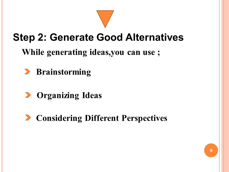 Step 2: Generate Good Alternatives Brainstorming Organizing Ideas Considering Different Perspectives While generating ideas,you can use ; 6