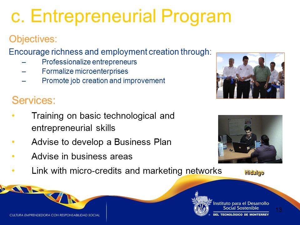 c. Entrepreneurial Program Objectives: Encourage richness and employment creation through: –Professionalize entrepreneurs –Formalize microenterprises