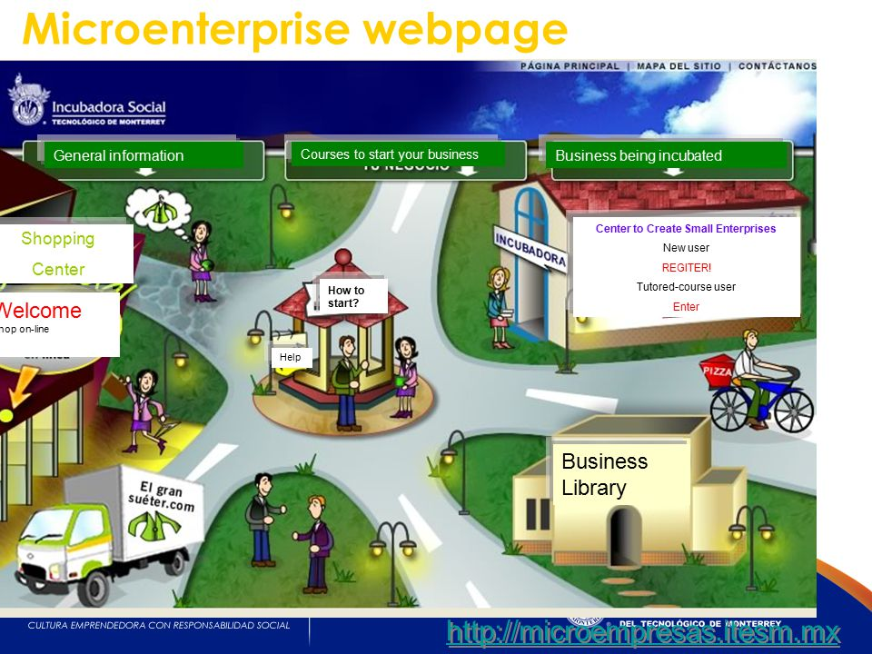 http://microempresas.itesm.mx Microenterprise webpage General information Courses to start your business Business being incubated How to start.