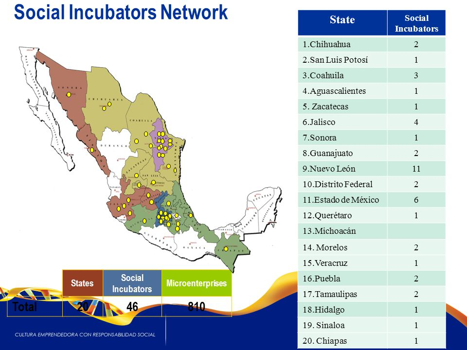 States Social Incubators Microenterprises Total2046810 18 State Social Incubators 1.Chihuahua2 2.San Luis Potosí1 3.Coahuila3 4.Aguascalientes1 5.