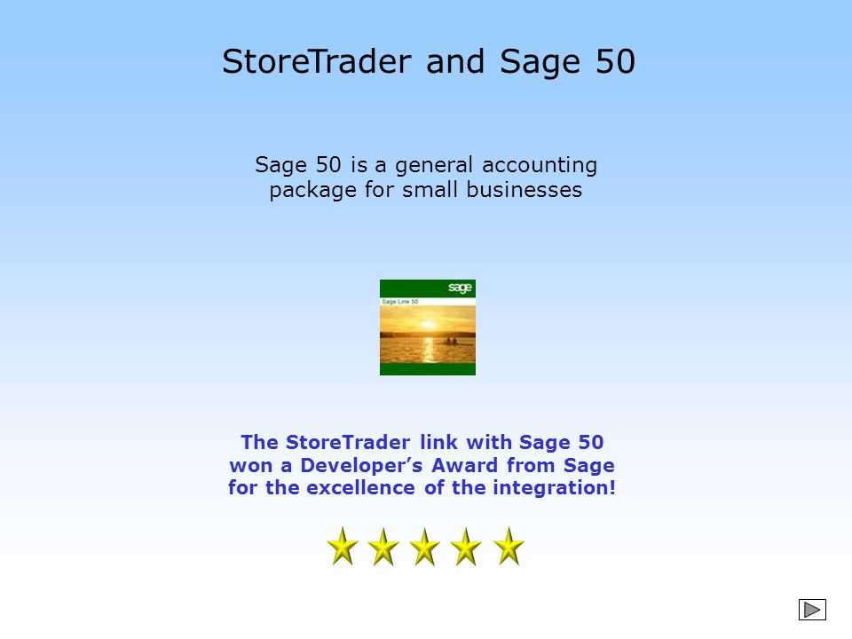 StoreTrader and Sage 50 Sage 50 is a general accounting package for small businesses The StoreTrader link with Sage 50 won a Developer's Award from Sa